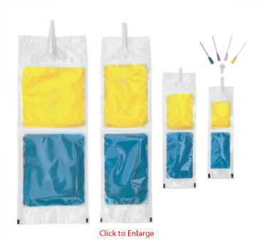 Frangible burst pouch (burst bag) with dispenser tip